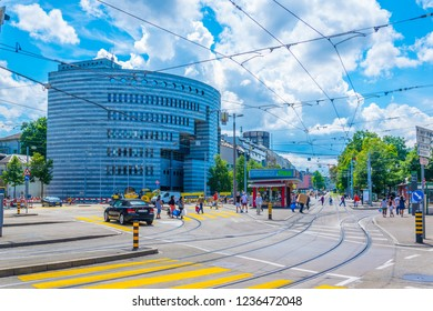 BASEL, SWITZERLAND, JULY 14, 2017: Botta building of the Bank for International Settlements - BIS - in Basel, Switzerland