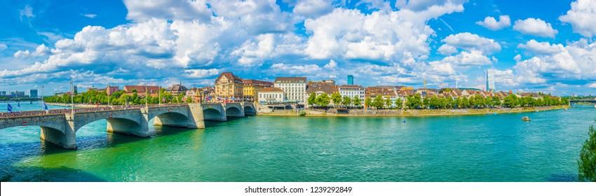 BASEL, SWITZERLAND, JULY 14, 2017: Riverside of Rhine in Basel, Switzerland
