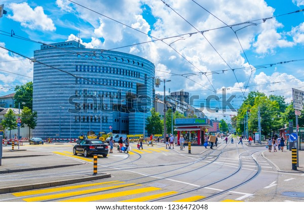 BASEL, SWITZERLAND, JULY 14, 2017: Botta building of the Bank for International Settlements - BIS - in Basel, Switzerland