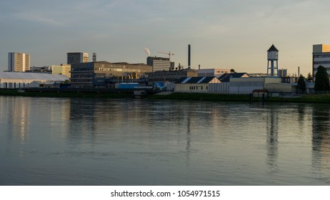 BASEL, SWITZERLAND - JUNE 01 2017: industrial buildings along the Rhine River. Basel is a city on the Rhine River in the northwestern part of Switzerland. Europe.