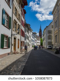 BASEL, SWITZERLAND - JUNE 04  2017: Tourists travel in the old part of the city of Basel. Switzerland. Europe.