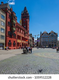 BASEL, SWITZERLAND - JUNE 04  2017: Swiss city Basel in the summer. Architecture of 14th century town hall, the Rathaus. The seat of the government of the Canton of Basel-City and at the same time.