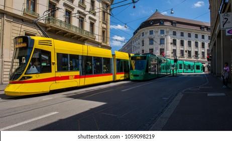 BASEL, SWITZERLAND - JUNE 06  2017:  Tram in Basel. Switzerland. Europe.