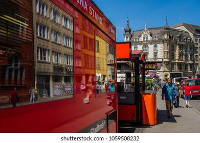 BASEL, SWITZERLAND - JUNE 06  2017: Swiss city Basel in the summer. The streets of the city and tourists shopping. Europe.