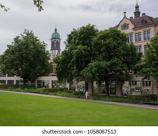 BASEL, SWITZERLAND - JUNE 09  2017:  Park Three Roses and views of the city of Basel.  Switzerland. Europe.