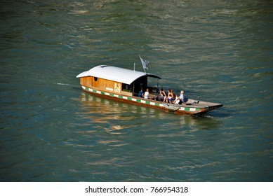 BASEL, SWITZERLAND - JUNE 11, 2011: Historic passenger ferry crossing the Rhine river