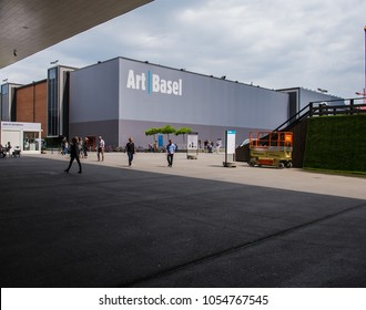 BASEL, SWITZERLAND - JUNE 12 2017: Exhibition Center in Basel Switzerland. An annual art event - Art Bazel. Architecture of the Exhibition Center in Basel Switzerland.