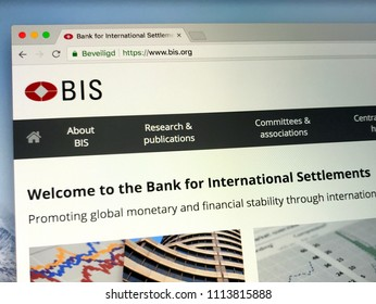 Basel, Switzerland - June 14, 2018: Website of The Bank for International Settlements or BIS, an international financial institution.