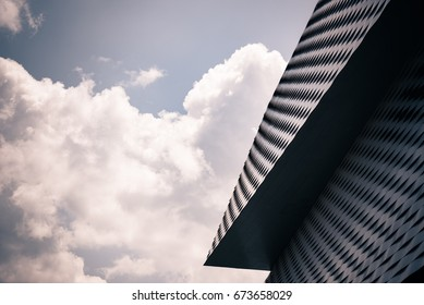 BASEL, SWITZERLAND - JUNE 15, 2017 - Modern architecture, detail of the exhibition center of Basel in Switzerland.
