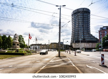 BASEL, SWITZERLAND - June 16, 2017: Street view of Basel cityscape, Switzerland