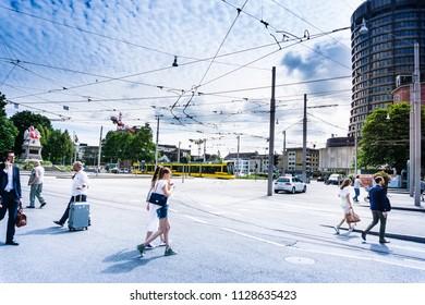 BASEL, SWITZERLAND - June 16, 2017: Tourists on foot Graben Street in Basel,Switzerland