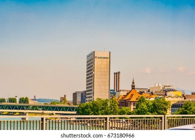 BASEL - SWITZERLAND - JUNE 16, 2017 -   View up to the cityscape of Basel