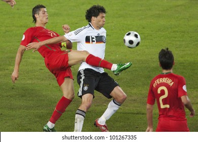 BASEL, SWITZERLAND - JUNE 19:  Cristiano Ronaldo of Portugal (l) and Michael Ballack of Germany fight for the ball during a Euro 2008 match June 19, 2008 in Basel, Switzerland.  Editorial use only.