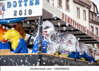 Basel, Switzerland - March 11, 2019: Participants at the parade of the Carnival of Basel. The Carnival of Basel is the biggest carnival in Switzerland.