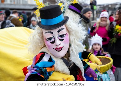 Basel, Switzerland - March 11, 2019: Participant at the parade of the Carnival of Basel. The Carnival of Basel is the biggest carnival in Switzerland.