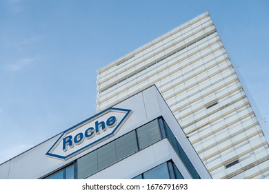 BASEL, SWITZERLAND - MARCH 15, 2020: Hoffmann-La Roche AG is a Swiss multinational healthcare company with a headquarter in Basel.