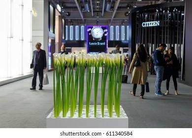 BASEL, SWITZERLAND - MARCH 27, 2017: Baselworld watch exhibition