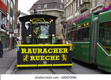BASEL, SWITZERLAND - MARCH, 6. A carnival waggon stands in the streets on the morning of the Carnivel at Basel 2017 (Basle - Switzerland) on March 6, 2017.