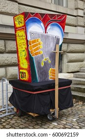BASEL, SWITZERLAND - MARCH, 6. A carnival lantern stands in the street on the morning of the Carnivel at Basel 2017 (Basle - Switzerland) on March 6, 2017.
