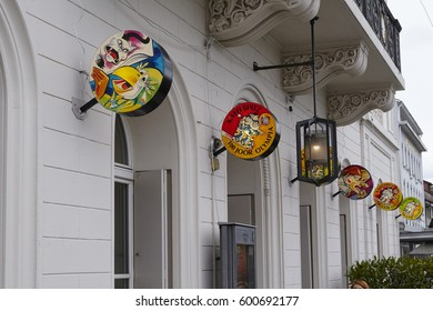 BASEL, SWITZERLAND - MARCH, 6. Some decoration at a shop in the city of Basel on the morning of the Carnivel at Basel 2017 (Basle - Switzerland) on March 6, 2017.