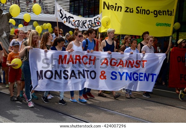 BASEL, SWITZERLAND - May 21, 2016 - 2000 people in Basel demonstrate against agrochemical corporations Monsanto, Syngenta and ChemChina.