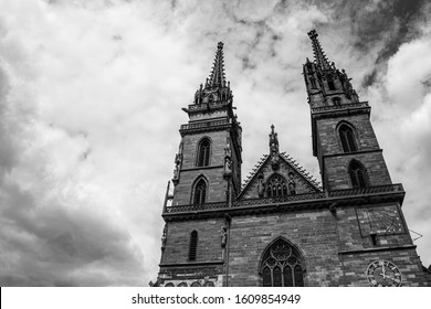 Basel / Switzerland - May 31 2019: Basel Munster or Minster Cathedral Spires as a Black and White Photograph