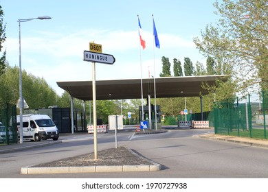 BASEL, SWITZERLAND - May 9, 2021: Switzerland and France border check post in Basel Stadt. Photo taken on Sunday evening.