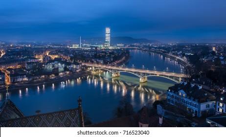Basel switzerland at night