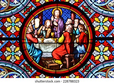 BASEL, SWITZERLAND - November 3, 2014: Nativity Scene. Stained glass window in the Cathedral of Basel, Switzerland