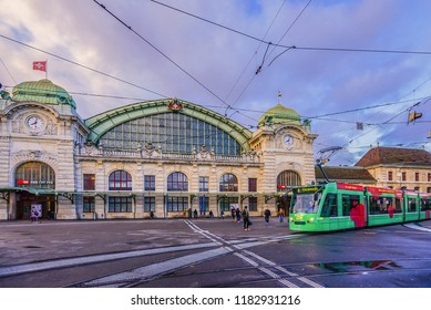 Basel, Switzerland - November 9, 2013: Landscape View of The Main Railway Station (Bahnhof Basel SBB) And Trams Transit in From Of the Station