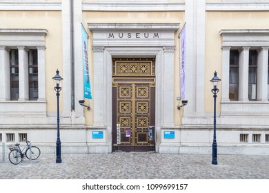 Basel, Switzerland - October 20, 2016: Entrance to the Museum of Natural History in the historic city center