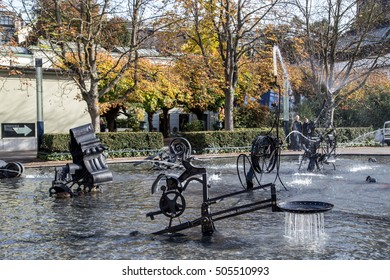 Basel, Switzerland - October 24, 2016: The artistic Tinguely Fountain in the city center