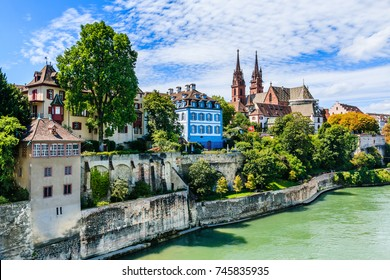 Basel, Switzerland. Old town with the cathedral.