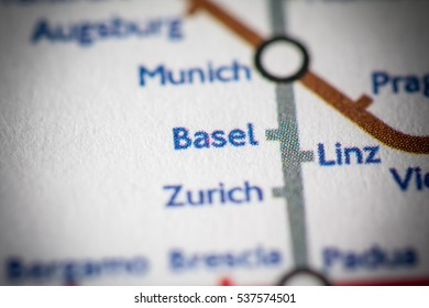 Basel, Switzerland on a geographical map.