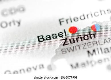 Basel, Switzerland on a map.
