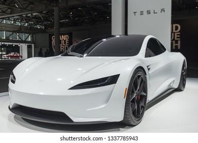 Basel, Switzerland, September 08, 2018: Tesla Roadster 2 at Grand Basel exhibition