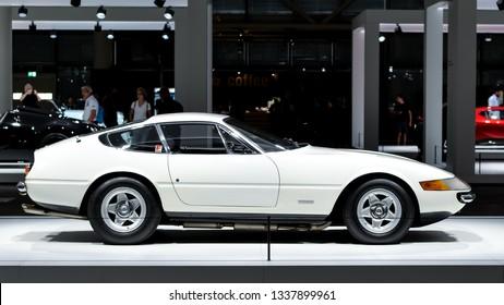 Basel, Switzerland - September 08, 2018: Grand Basel Auto Exhibition, Ferrari 365 GTB 4 Daytona Coupe, 1973