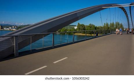 BASEl, SWITZERLAND-JUNE 12 2017: Bridge connecting Germany and France. Europe.