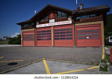 Baselga di Pine,Italy - June 16 2018: Baselga has a firehouse manned by Volunteer Firefighters (Vigili del Fuoco Volontari).