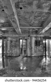 Basement of an abandoned and decaying building in Gary, Indiana.