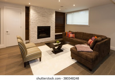 Basement entertainment room in new luxury house