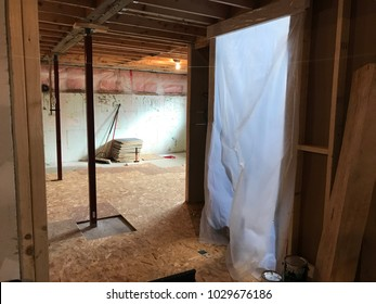 Basement renovation in house