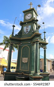 BASETERRE, SAINT KITTS AND NEVIS - DEC. 23, 2015: Berkeley Memorial in the Circus Center, the oldest clock of the Caribbean