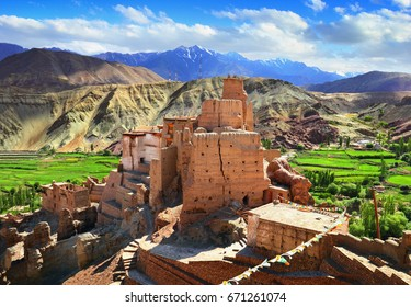 Basgo Gompa and Fort. Beautiful scenic view, ancient fortress and Buddhist Monastery in Bazgo valley at the background of mountain range and sky, Leh district, Ladakh, Jammu & Kashmir, Northern India