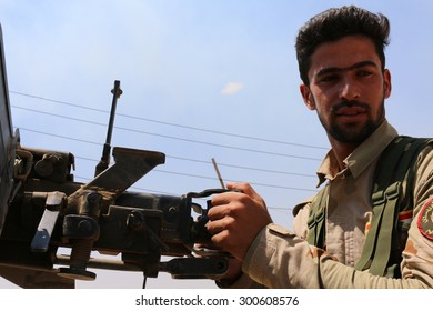 BASHIK FRONTLINE, KURDISTAN, IRAQ - 2015 JULY 25  - Unidentified kurdish (peshmerga) fighter at BASHIK (bashik) base 25km from ISIS controlled Mosul.