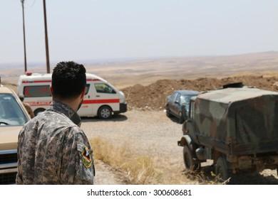 BASHIK FRONTLINE, KURDISTAN, IRAQ - 2015 JULY 25  - Unidentified kurdish (peshmerga) militia at BASHIK (bashik) base 25km from ISIS controlled Mosul.
