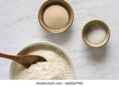 Basic Bread Ingredients in Bowl