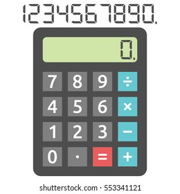 Basic calculator with zero number and set of digits isolated on white. Flat design