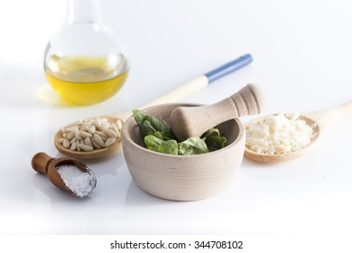 Basic fresh ingredients for a delicious pesto sauce