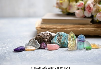 Basic gemstones set for relax and meditation. Magic quartz minerals for healing Crystal Ritual, Witchcraft, spiritual esoteric practice. Reiki life balance concept